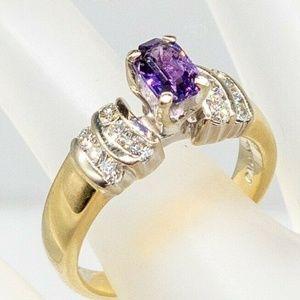 PURPLE SAPPHIRE DIAMOND 14K GOLD RING